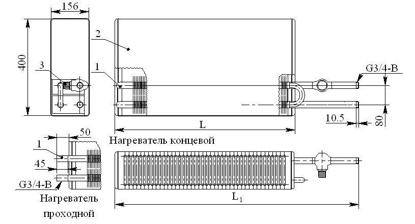 Конвектор «Универсал КНУ-С Авто» КСК-20 (на прямом участке трубы)