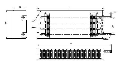 Конвектор «Универсал двухрядный концевой» КСК-20